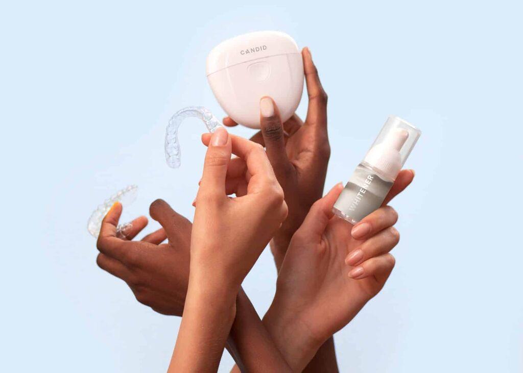 Various Teeth Whitening Tools in people's hands
